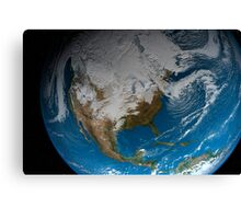 Full Earth showing simulated clouds over North America. Canvas Print