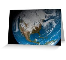 Full Earth showing simulated clouds over North America. Greeting Card