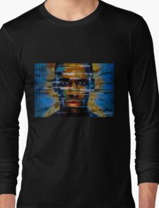 African male face on 3D textured background Long Sleeve T-Shirt