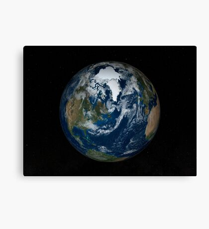 Earth with clouds and sea ice from September 15, 2008. Canvas Print
