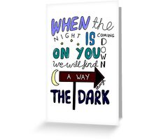 One Direction Through The Dark Lyrics in colour Greeting Card
