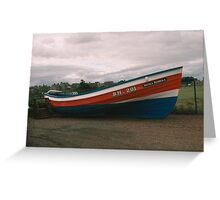 Coble Amble Harbour Greeting Card