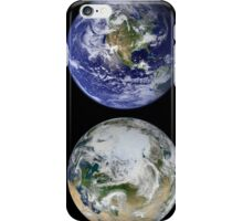 Image comparison of iconic views of planet Earth. iPhone Case/Skin