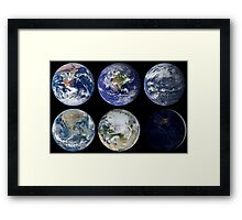 Image comparison of iconic views of planet Earth. Framed Print
