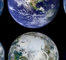 Image comparison of iconic views of planet Earth. Sticker