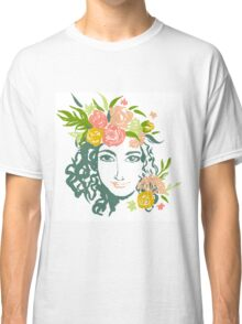 Girl portrait with painted flowers Classic T-Shirt