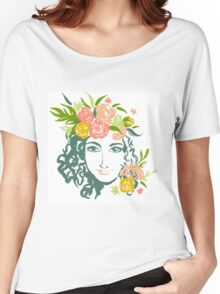 Girl portrait with painted flowers Women's Relaxed Fit T-Shirt