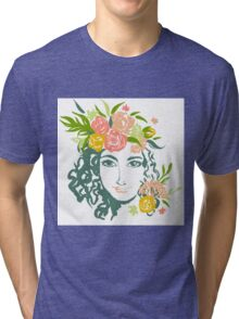 Girl portrait with painted flowers Tri-blend T-Shirt