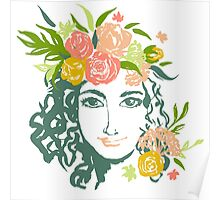 Girl portrait with painted flowers Poster