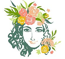 Girl portrait with painted flowers Photographic Print