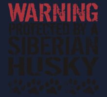 Warning Protected By A Siberian Husky One Piece - Short Sleeve