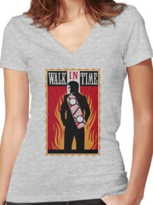 Walk in Time (Back to the Future) Women's Fitted V-Neck T-Shirt