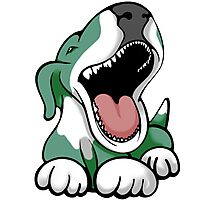 Laughing Bull Terrier White & Green Photographic Print