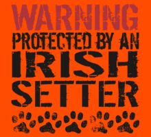 Warning Protected By An Irish Setter Kids Tee