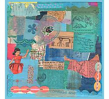 Blue Patchwork Collage Photographic Print