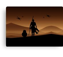 Rey and BB-8 Silhouette Art Canvas Print