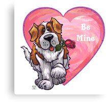 St. Bernard Valentine's Day Canvas Print