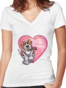 St. Bernard Valentine's Day Women's Fitted V-Neck T-Shirt