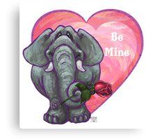 Elephant Valentine's Day Canvas Print