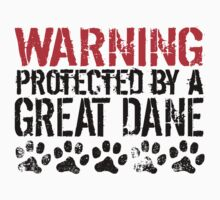 Warning Protected By A Great Dane Kids Tee