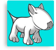 Cute English Bull Terrier Cartoon White Canvas Print
