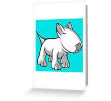 Cute English Bull Terrier Cartoon White Greeting Card