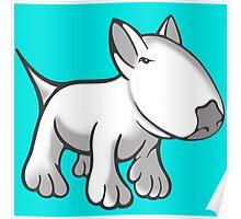 Cute English Bull Terrier Cartoon White Poster