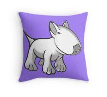 Cute English Bull Terrier Cartoon White Throw Pillow
