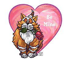 Ginger Cat Valentine's Day Photographic Print