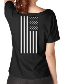 American Flag, BLACK, In Mourning, America, Americana, Stars & Stripes, White on Black, PORTRAIT, USA Women's Relaxed Fit T-Shirt