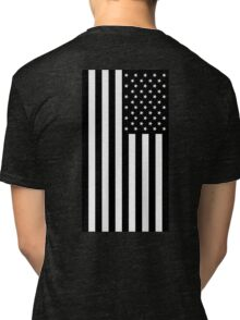 American Flag, BLACK, In Mourning, America, Americana, Stars & Stripes, White on Black, PORTRAIT, USA Tri-blend T-Shirt
