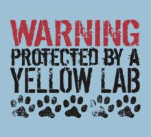 Warning Protected By A Yellow Lab One Piece - Short Sleeve