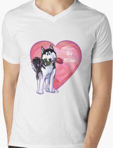 Husky Valentine's Day Mens V-Neck T-Shirt