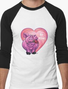 Pig Valentine's Day Men's Baseball ¾ T-Shirt