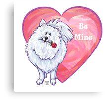 White Pomeranian Valentine's Day Canvas Print