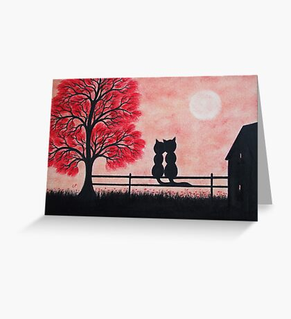 Two Cats Silhouettes with Red Tree, Romantic Cats Greeting Card
