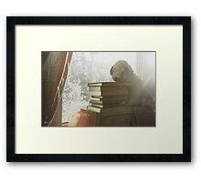 Soft vintage background for children. Childhood memory: Teddy dog sitting on books. Books stacked on the windowsill. Framed Print