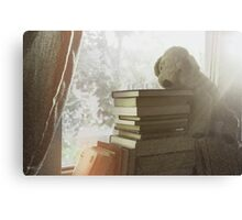 Soft vintage background for children. Childhood memory: Teddy dog sitting on books. Books stacked on the windowsill. Canvas Print