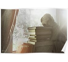 Soft vintage background for children. Childhood memory: Teddy dog sitting on books. Books stacked on the windowsill. Poster