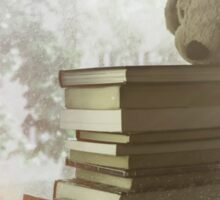 Soft vintage background for children. Childhood memory: Teddy dog sitting on books. Books stacked on the windowsill. Sticker