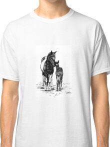 Ink Drawing Mare and Foal Classic T-Shirt