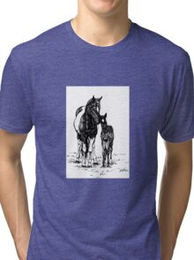 Ink Drawing Mare and Foal Tri-blend T-Shirt
