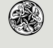 CELTS, Celtic, Hounds, Dogs, Three intertwined dogs, 3 Dogs, Book of Kells, fol. 29r. Unisex T-Shirt