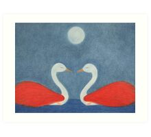 Romantic Swans with Moon, Two Swans, Spiritual Swans Art Print