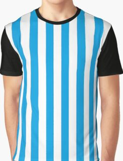 Turquoise Blue & White Stripes Graphic T-Shirt