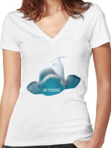 Hi There Beluga Whale Women's Fitted V-Neck T-Shirt