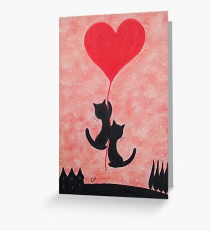 Cats and Heart, Love Cats, Two Cats with Heart Balloon Greeting Card