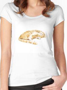 The Sleepy Tabby Orange Cat Women's Fitted Scoop T-Shirt