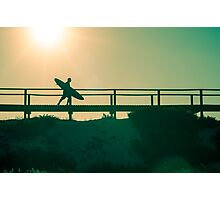 Surfer running to the beach Photographic Print