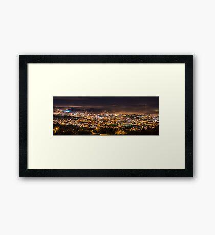 Braga cityscape at night Framed Print